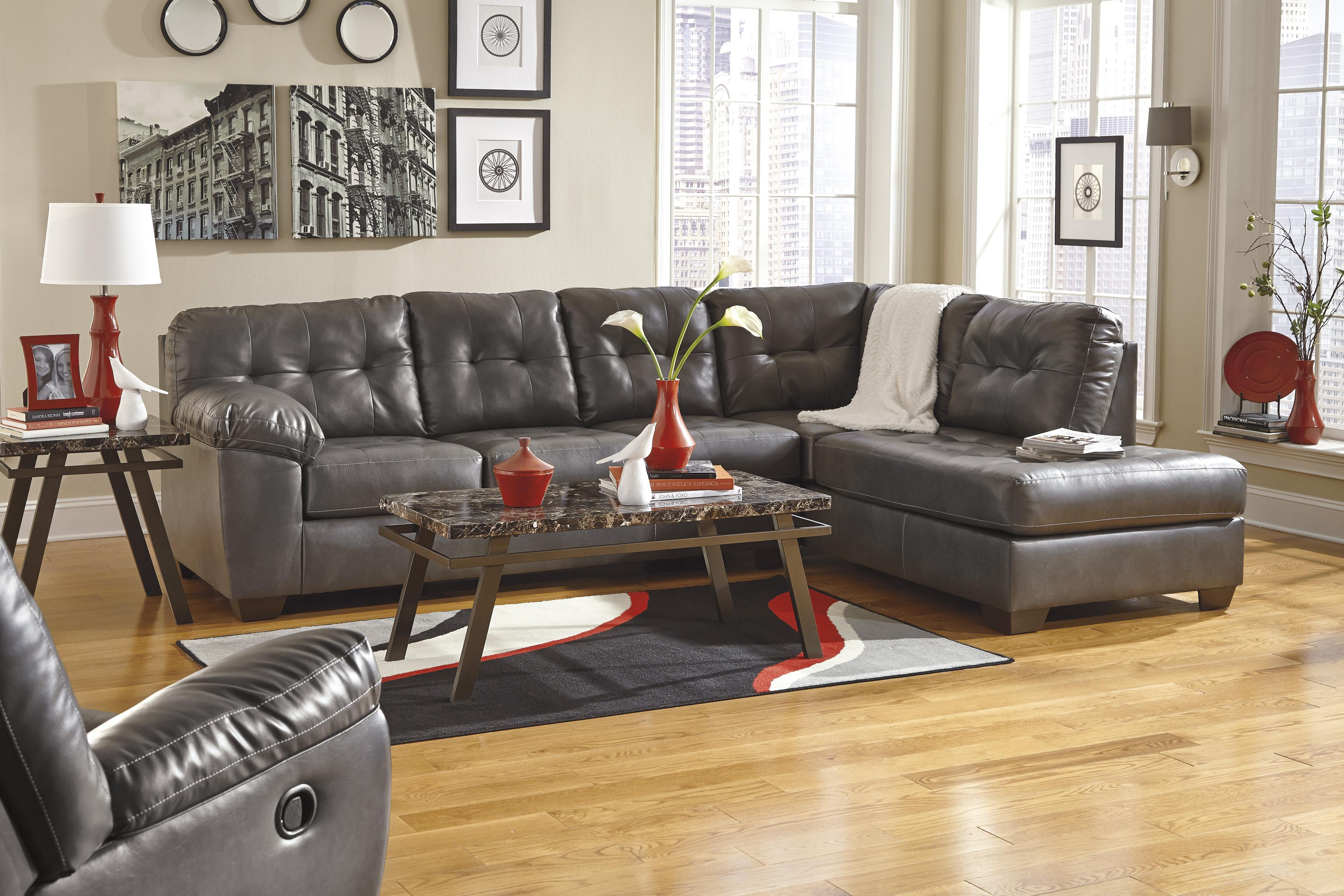Faux Leather Sectional w/ Right Chaise : faux leather sectionals - Sectionals, Sofas & Couches