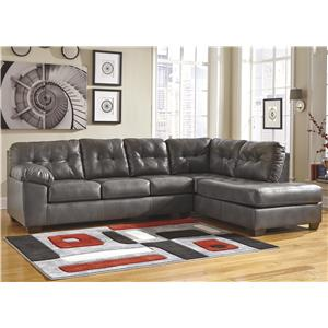 Faux Leather Sectional w/ Right Chaise & Tufting