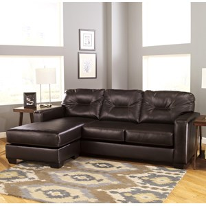 Contemporary Faux Leather Sofa Chaise with Reversible Chaise