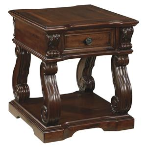 Traditional Square End Table with 1 Drawer & 1 Shelf