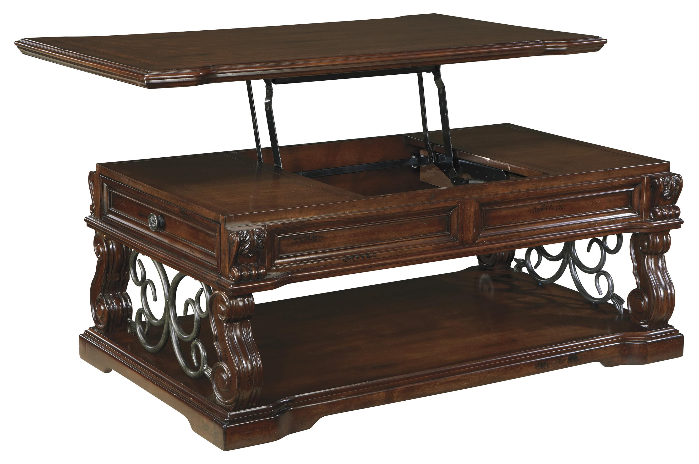 Traditional Lift Top Cocktail Table With 2 Drawers 1 Shelf By Signature Design By Ashley