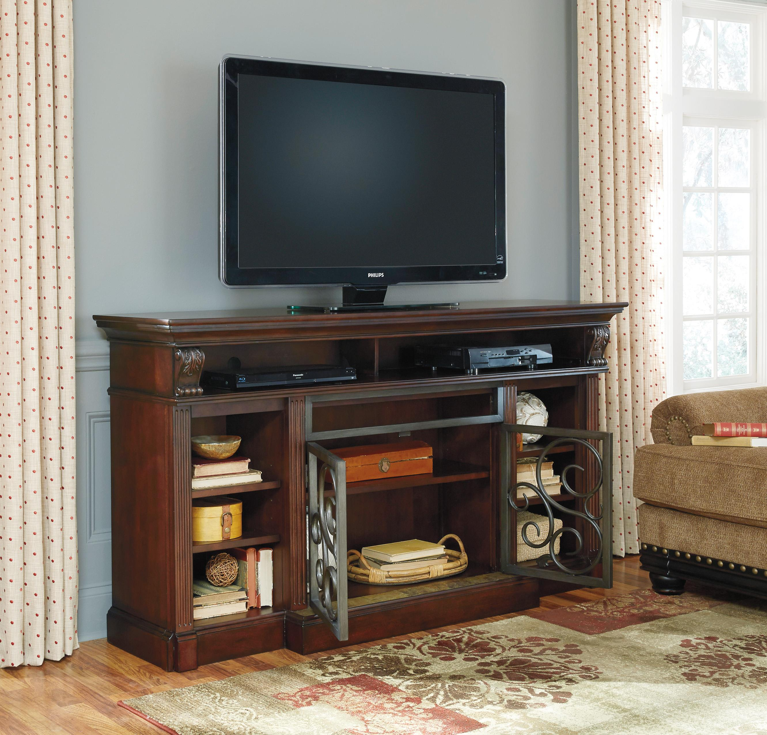 extra large tv stand with metal doors u0026 marble tile by signature