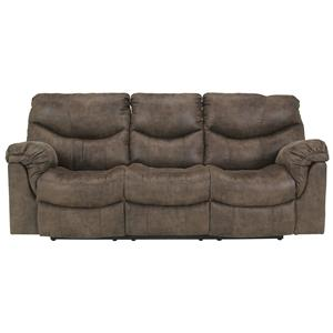 Ashley (Signature Design) Alzena - Gunsmoke Reclining Power Sofa