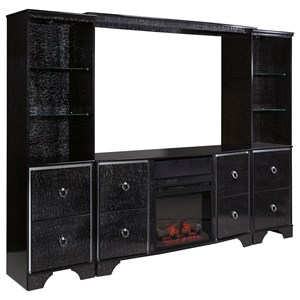 Glam Entertainment Center with Fireplace Insert