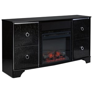 Glam Glossy Black TV Stand with Fireplace Insert