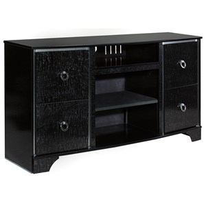 Glam Glossy Black Large TV Stand