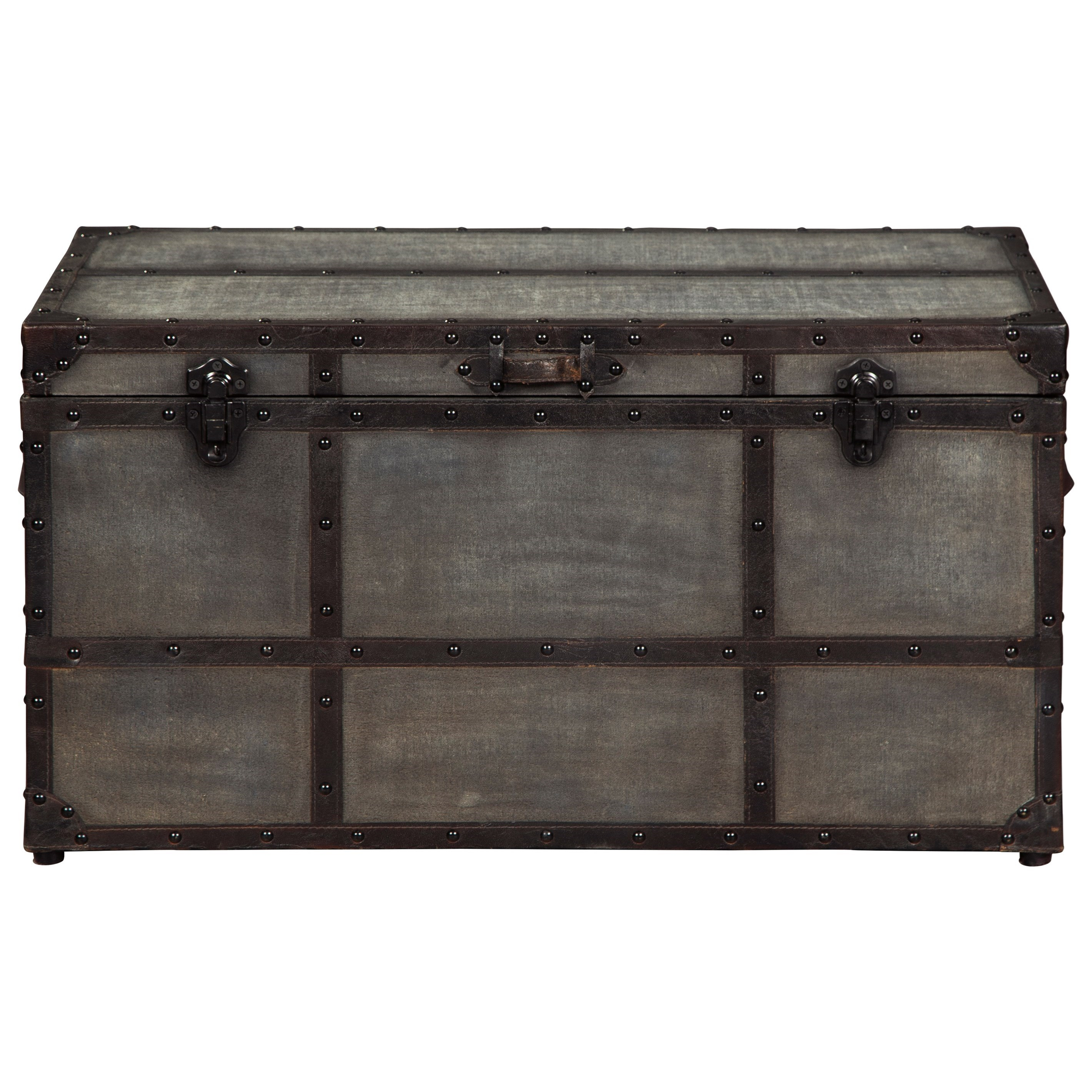 Industrial Style Storage Trunk in Gray Cotton Canvas
