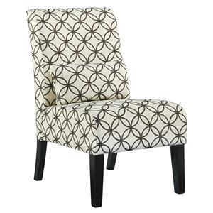 Transitional Armless Accent Chair with Pillow