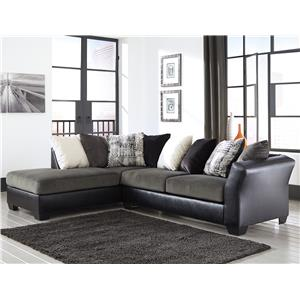 Contemporary 2-Piece Sectional with Left Chaise with Loose Back Pillows