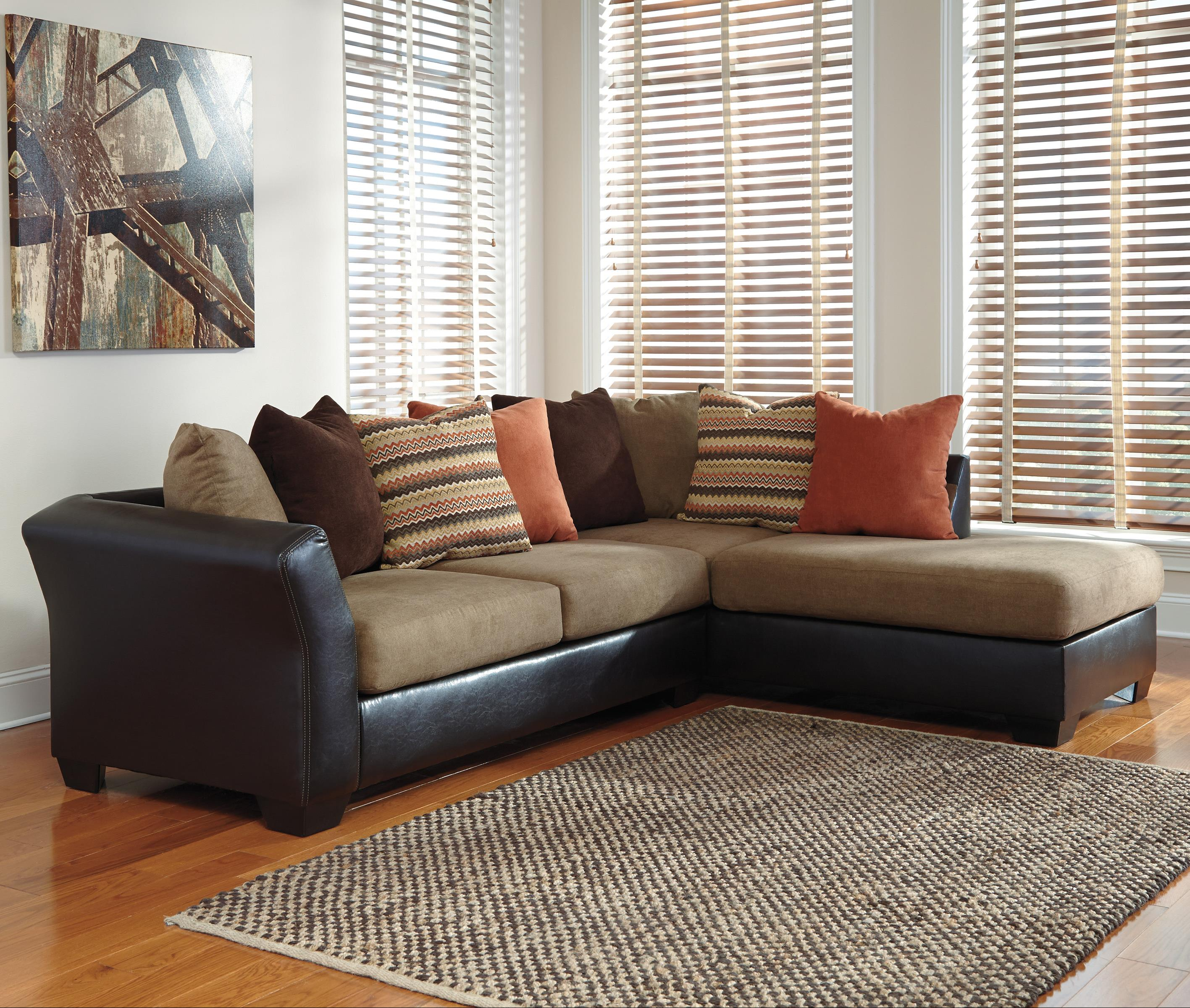 Contemporary 2 Piece Sectional with Right Chaise with Loose Back