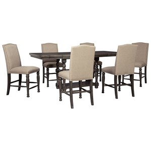 Transitional Seven Piece Chair and Table Set