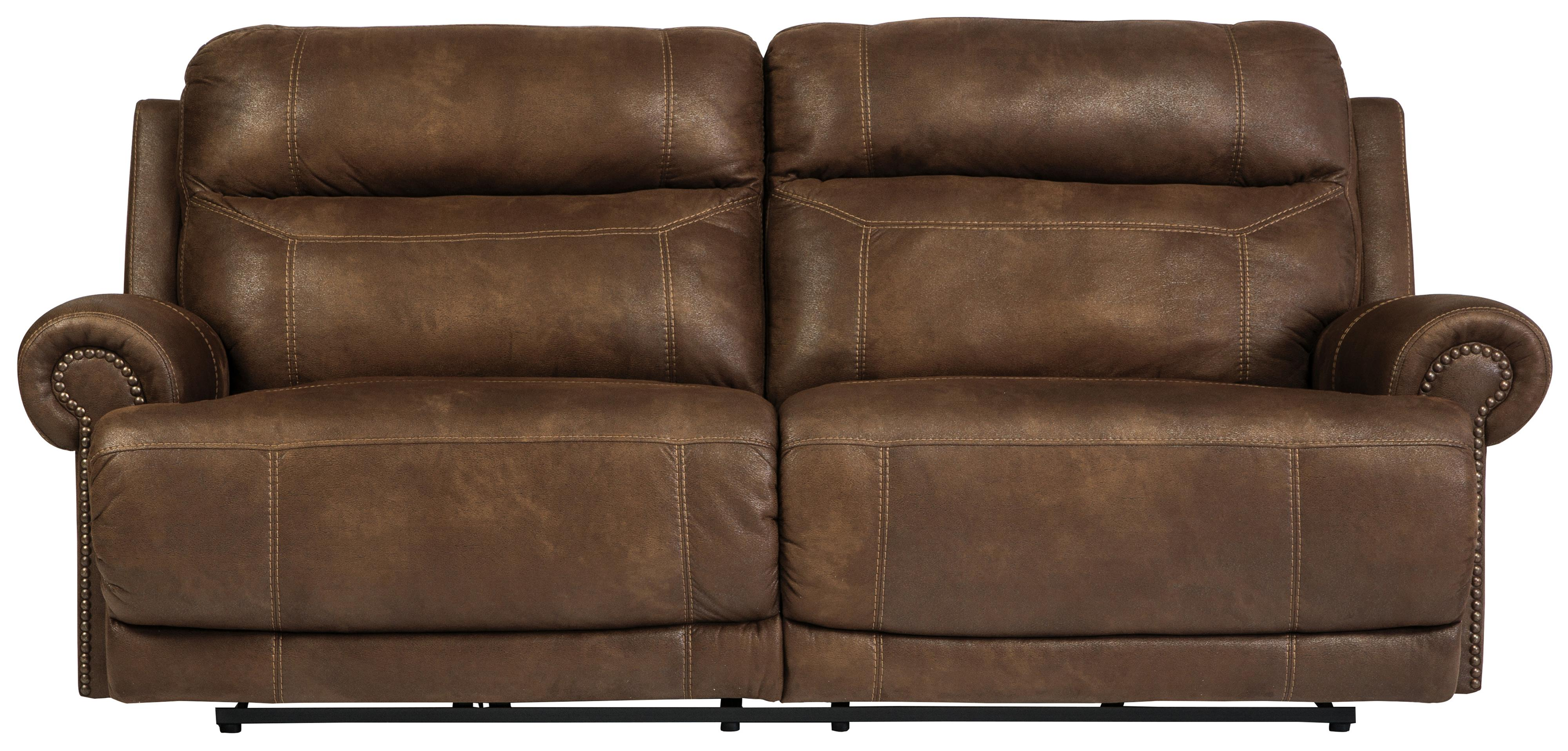 2 Seat Reclining Power Sofa With Rolled Arms With Nailhead