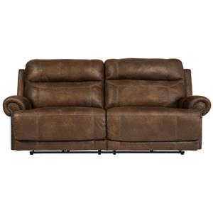2 Seat Reclining Power Sofa with Rolled Arms with Nailhead Trim