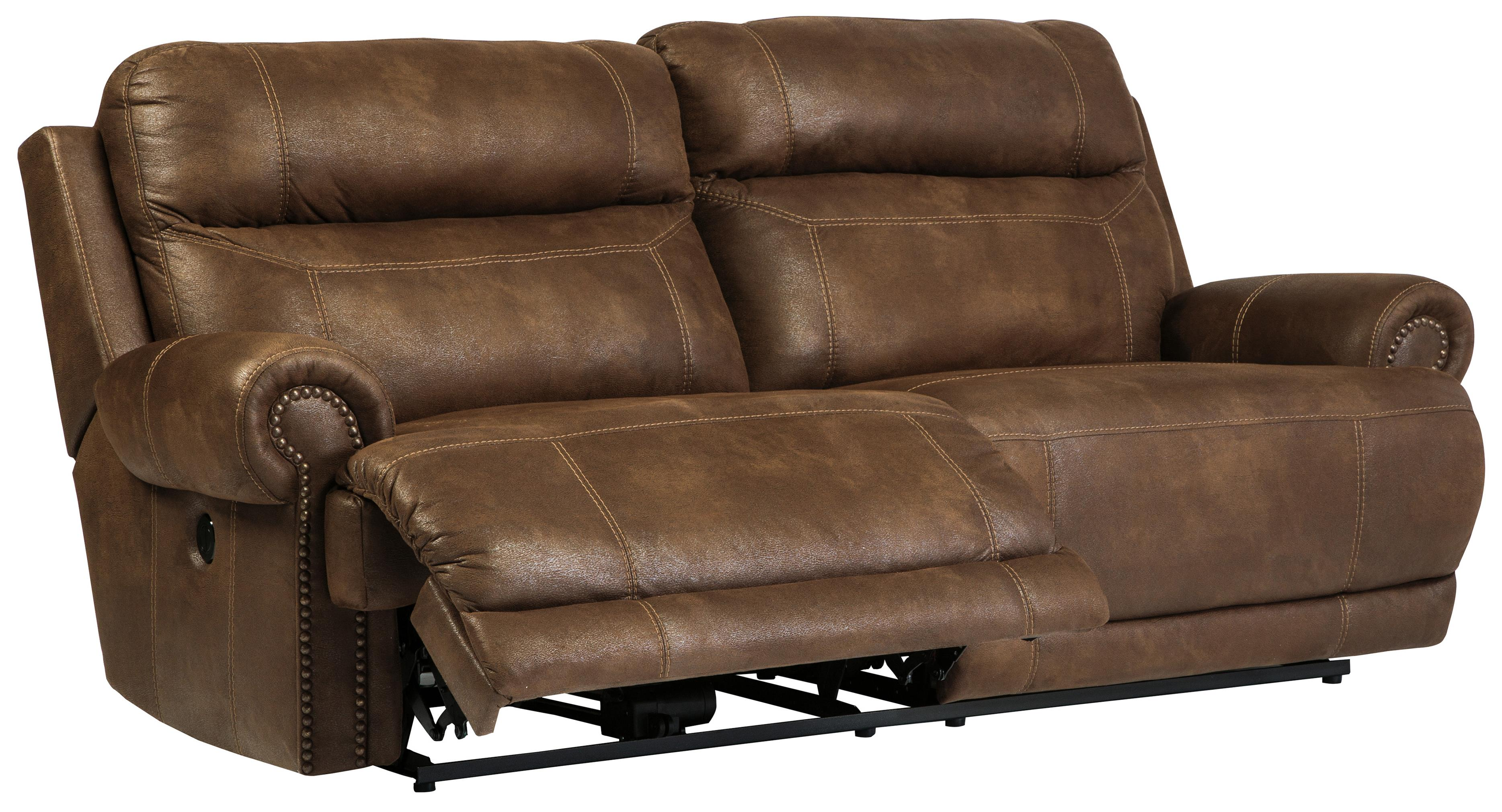 2 Seat Reclining Sofa With Rolled Arms And Nailhead Trim