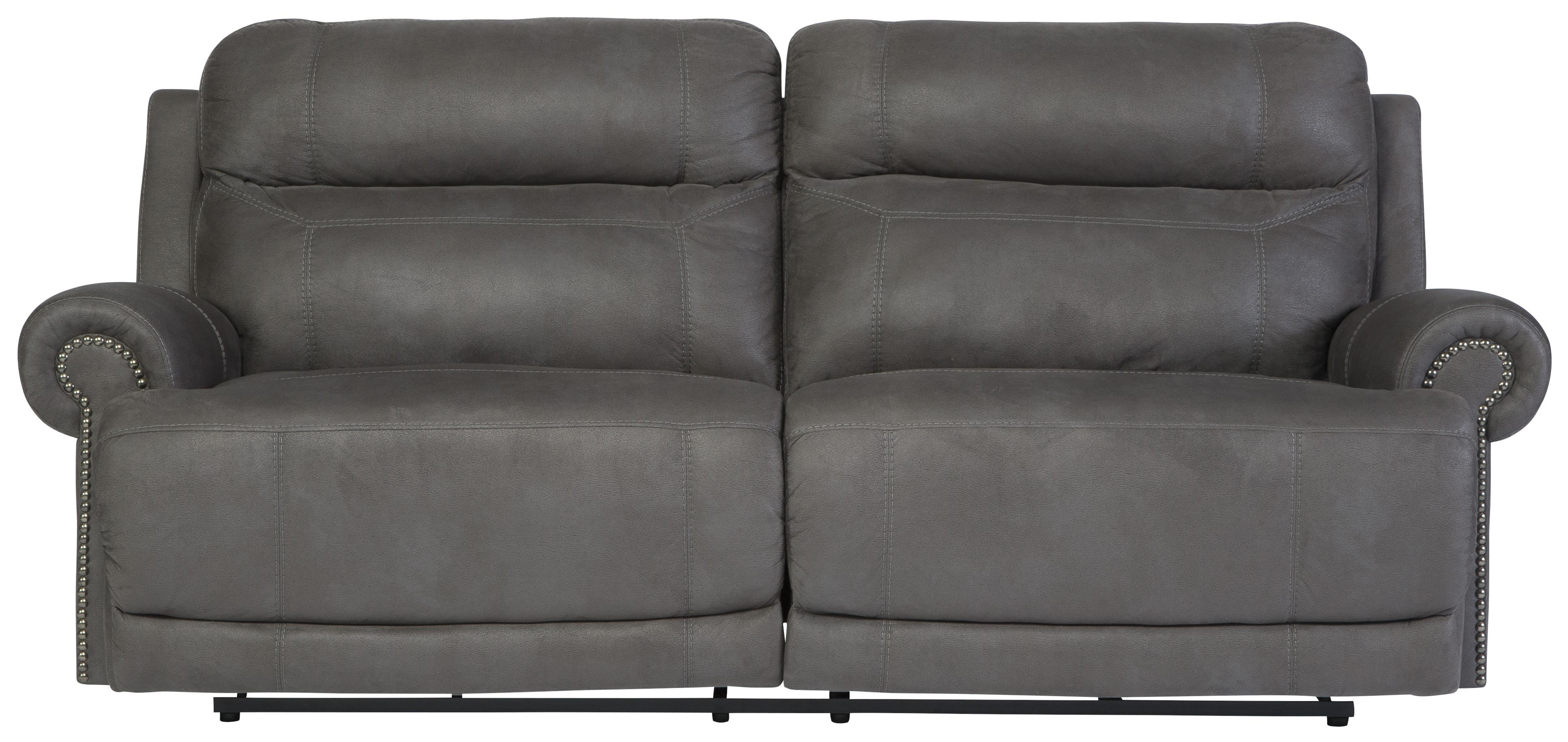 2 Seat Faux Leather Reclining Power Sofa With Rolled Arms With Nailhead Trim