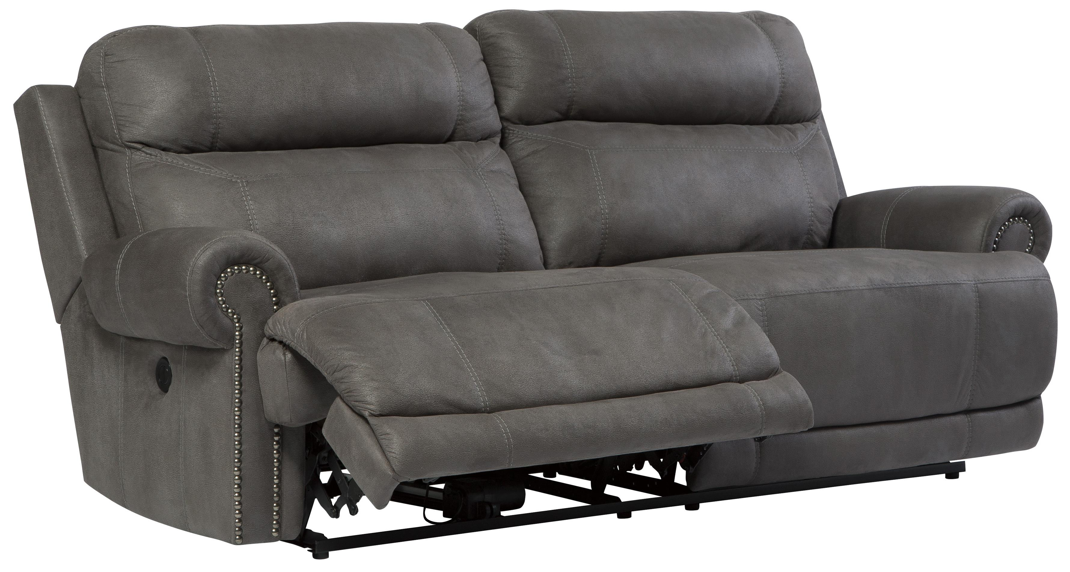 2 Seat Faux Leather Reclining Power Sofa with Rolled Arms with ...
