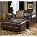 Signature Design by Ashley Axiom - Walnut Traditional Upholstered Chair and a Half with Bun Wood Feet - Shown with Ottoman