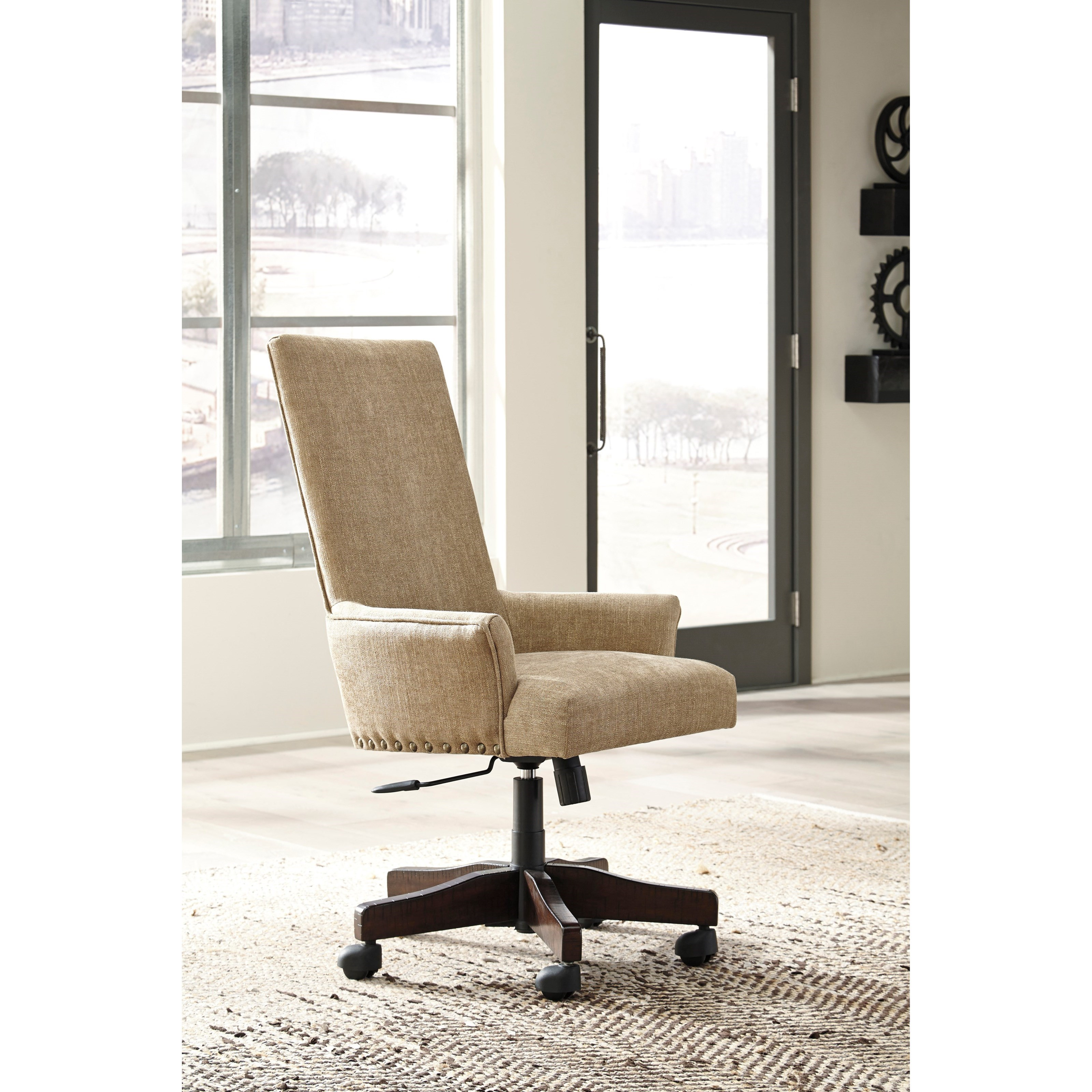 Upholstered swivel desk chair - Contemporary Upholstered Swivel Desk Chair With Nailhead Trim