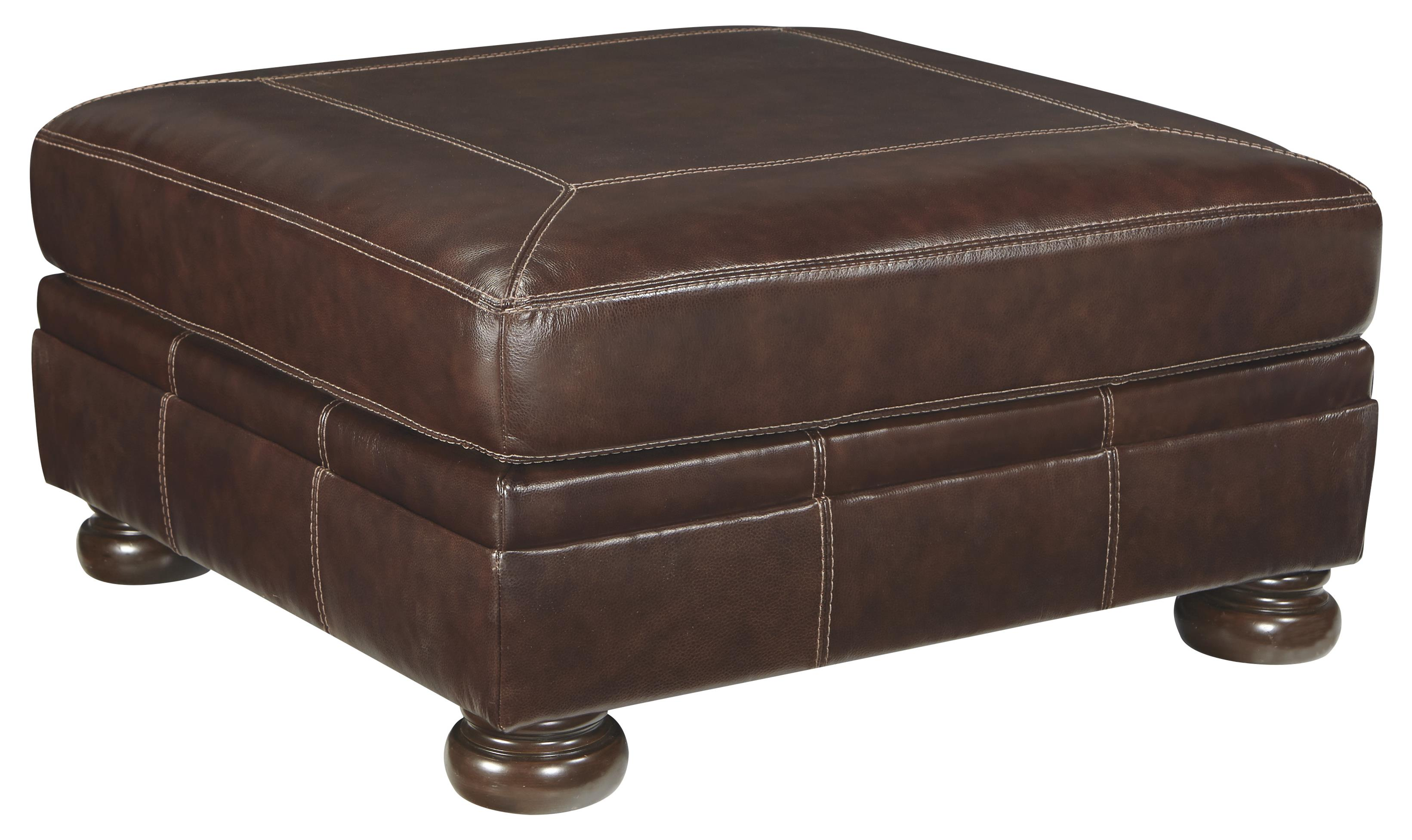 Square Leather Match Oversized Accent Ottoman With Bun Feet By Signature Design By Ashley Wolf