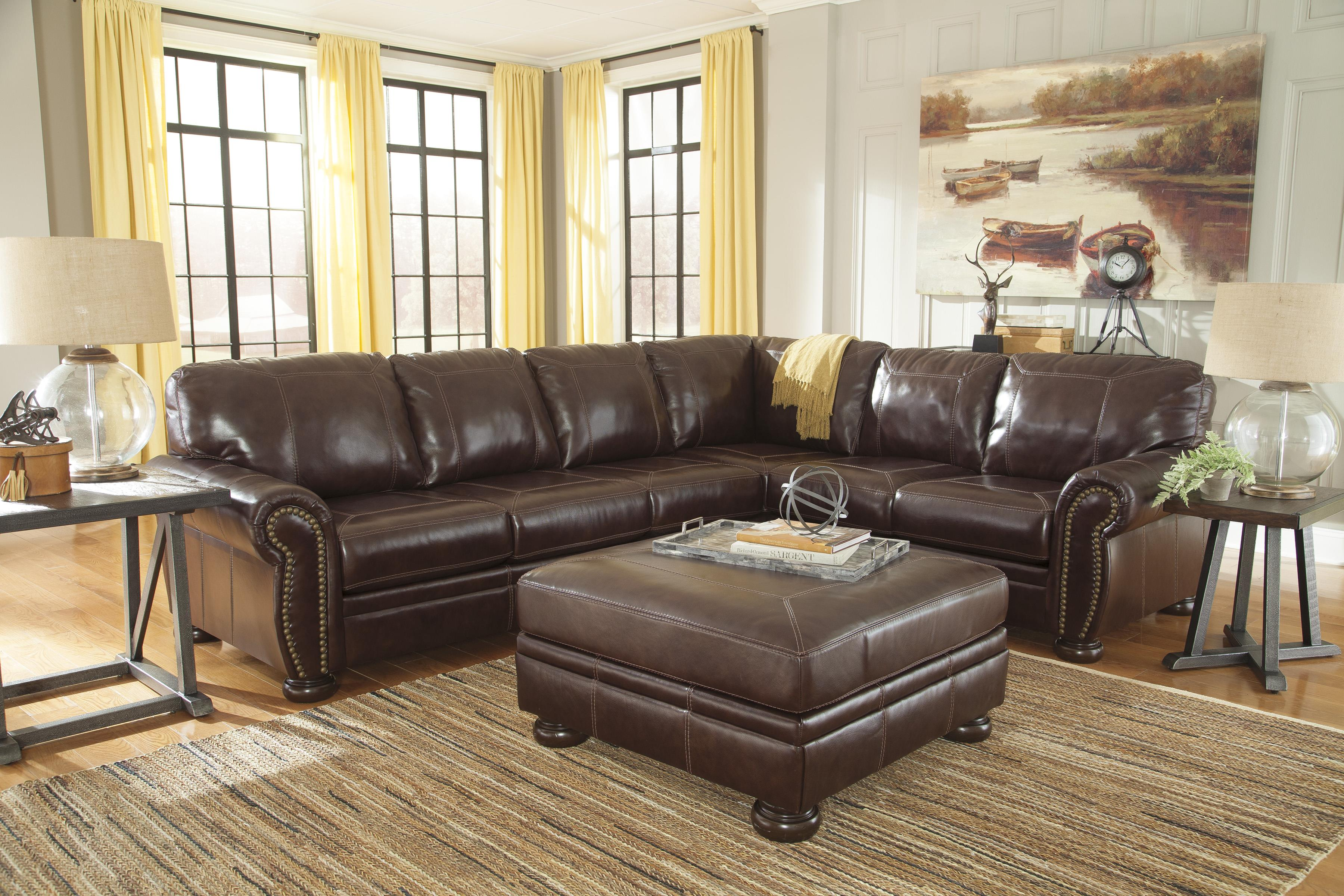 Square Leather Match Oversized Accent Ottoman with Bun Feet : leather sectional with nailhead trim - Sectionals, Sofas & Couches