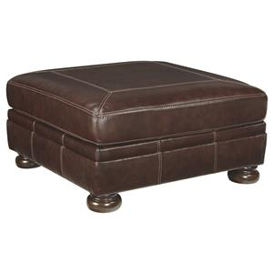 Square Leather Match Oversized Accent Ottoman with Bun Feet