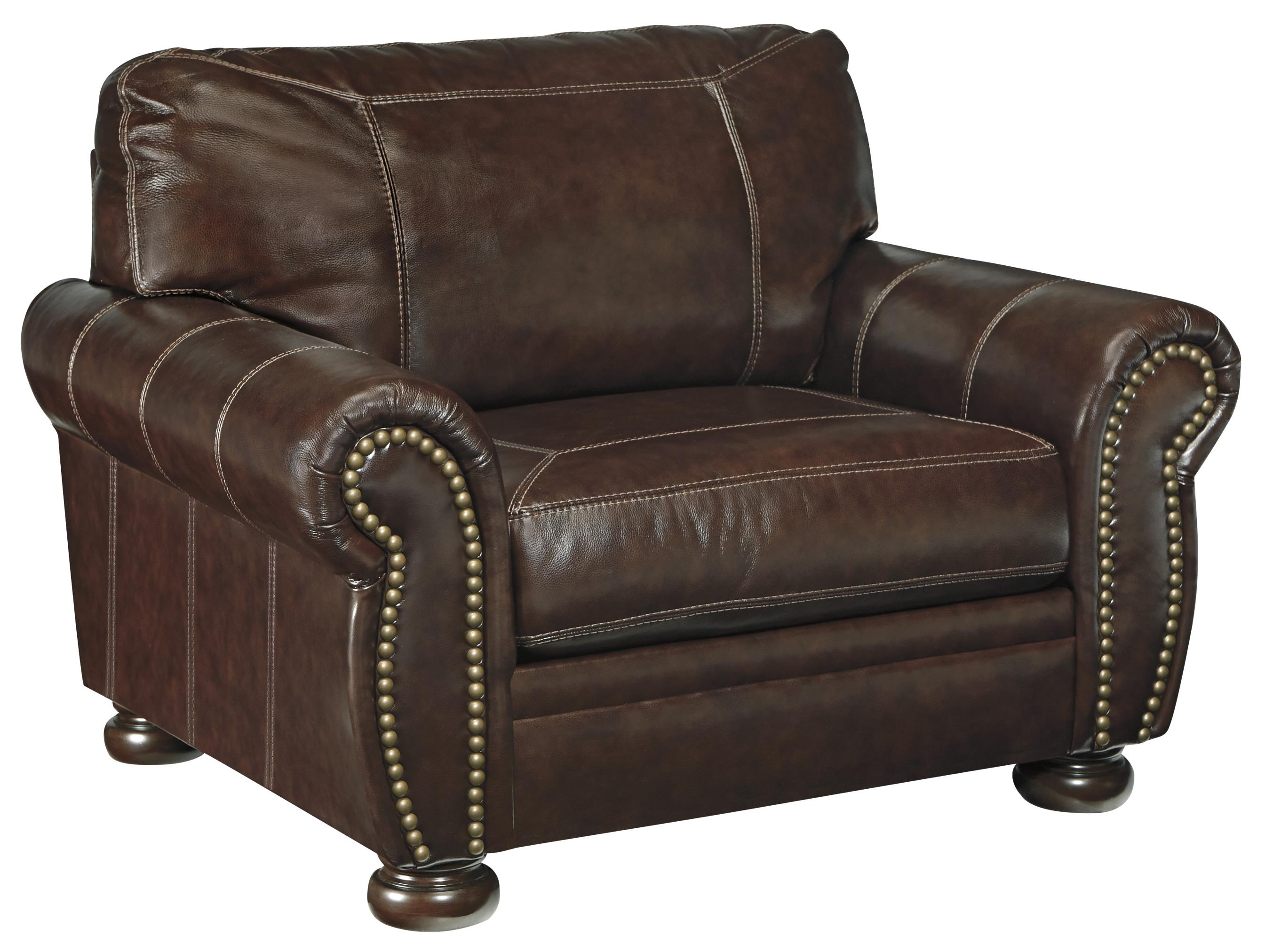 Traditional Leather Match Chair and a Half with Rolled Arms