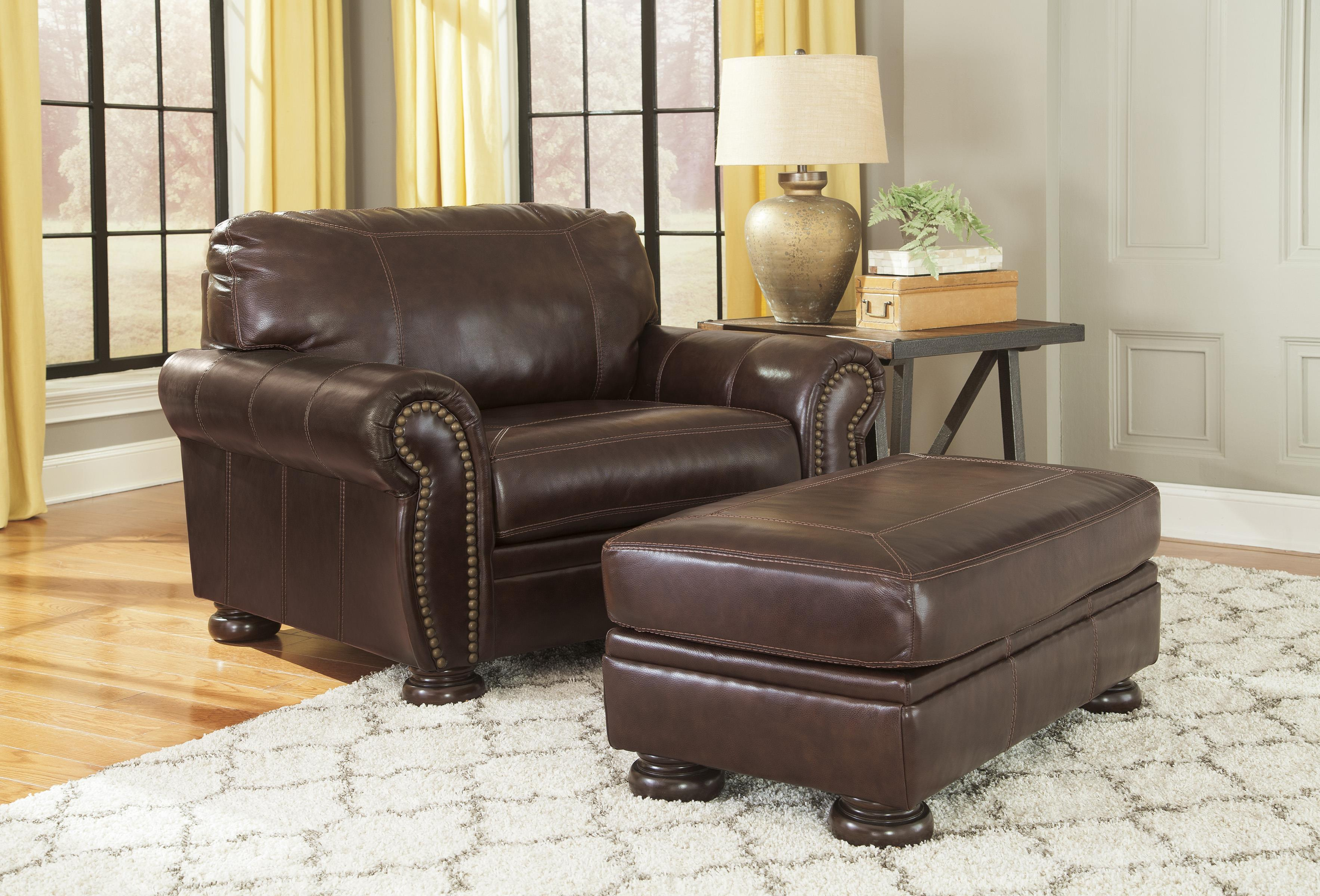 Leather chair and a half - Traditional Leather Match Chair And A Half With Rolled Arms Nailhead Trim Bun Feet