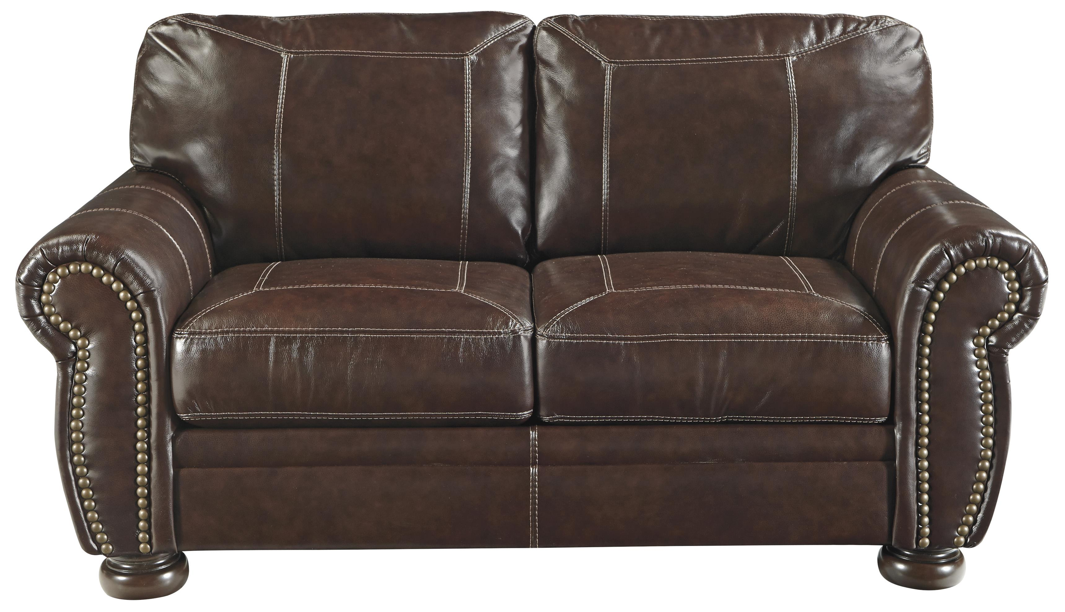 Traditional Leather Match Loveseat With Rolled Arms Nailhead Trim Bun Feet By Signature
