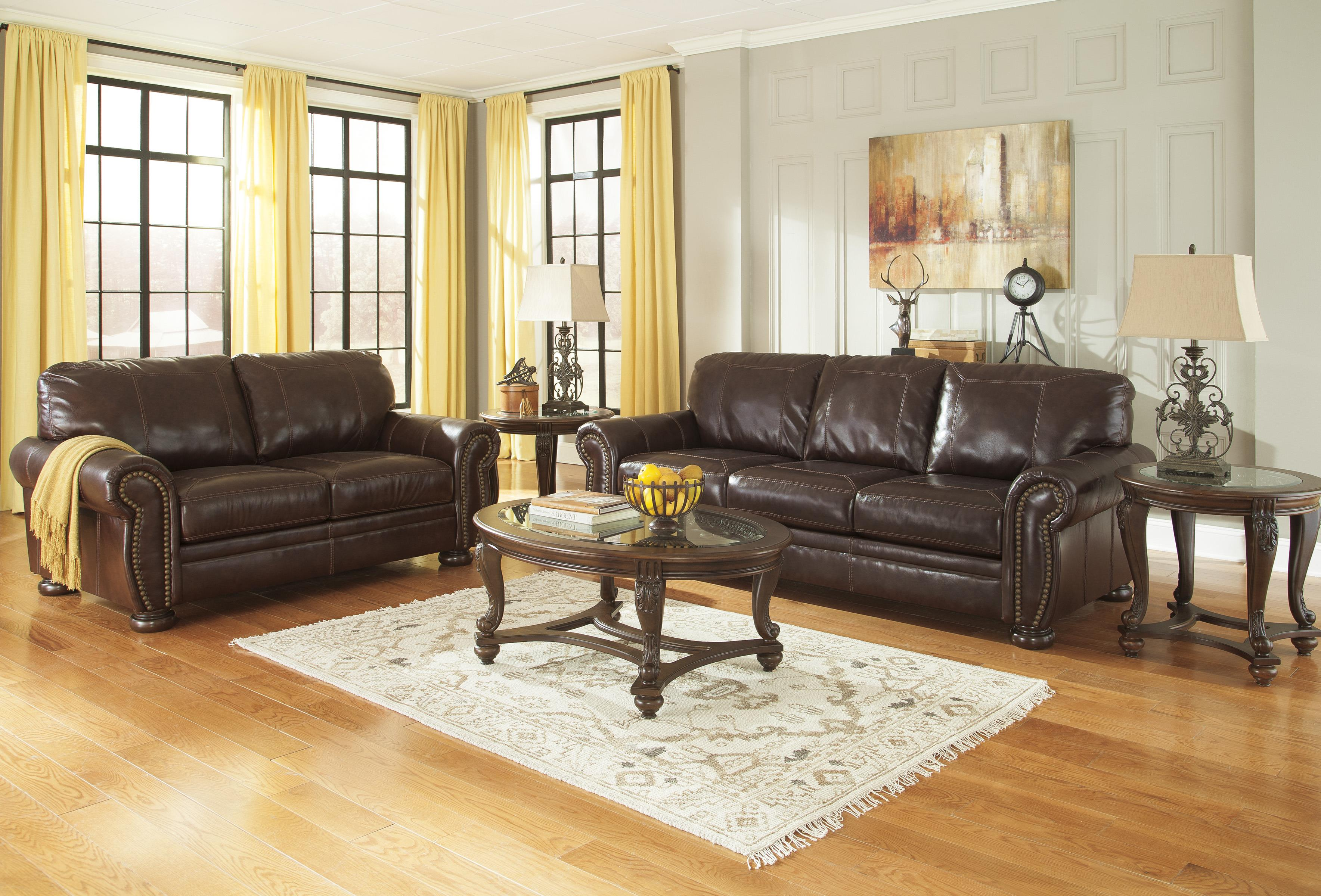 Traditional Leather Match Sofa with Rolled Arms Nailhead Trim