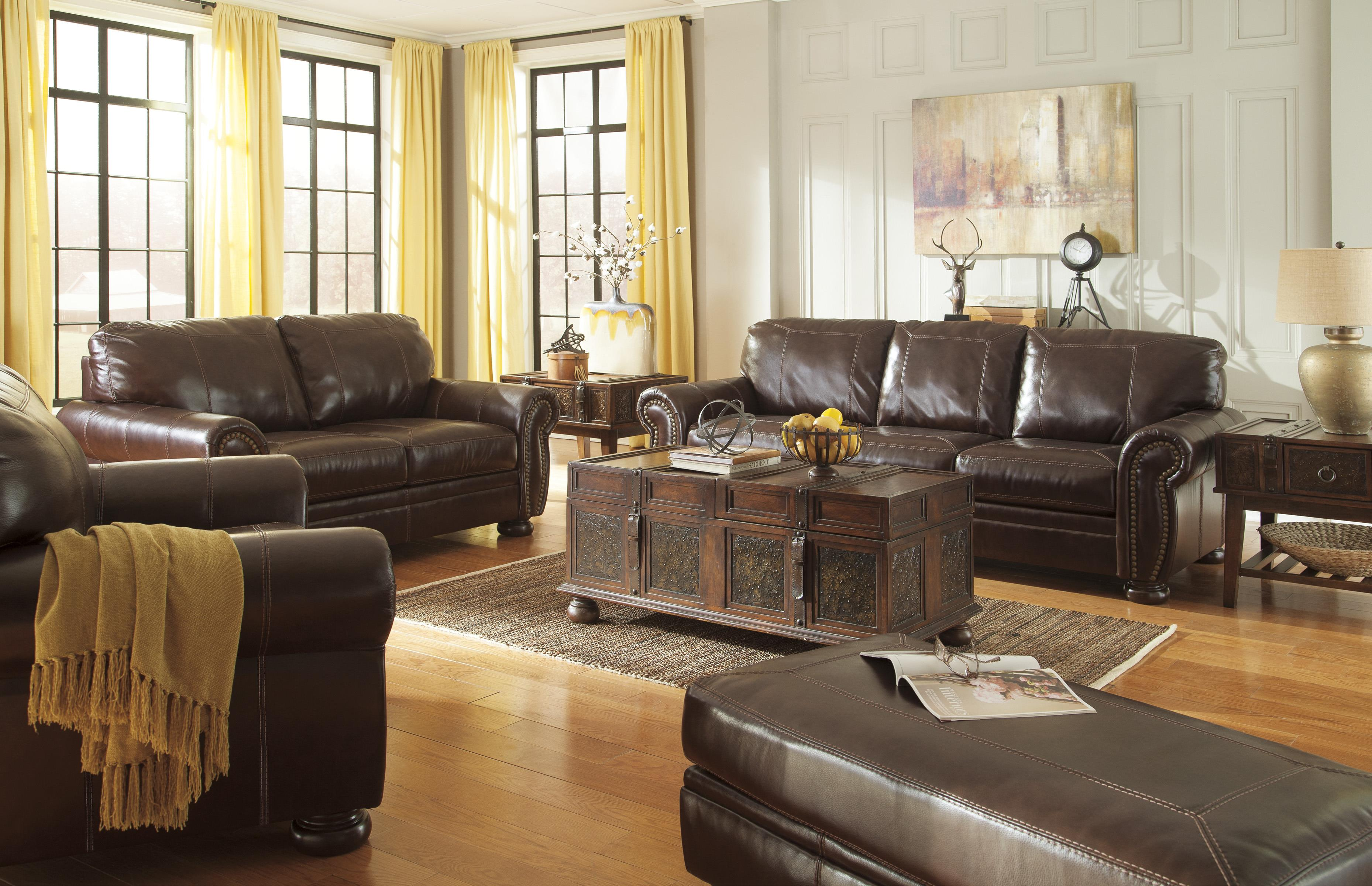 Traditional Leather Living Room Furniture traditional leather match sofa with rolled arms, nailhead trim