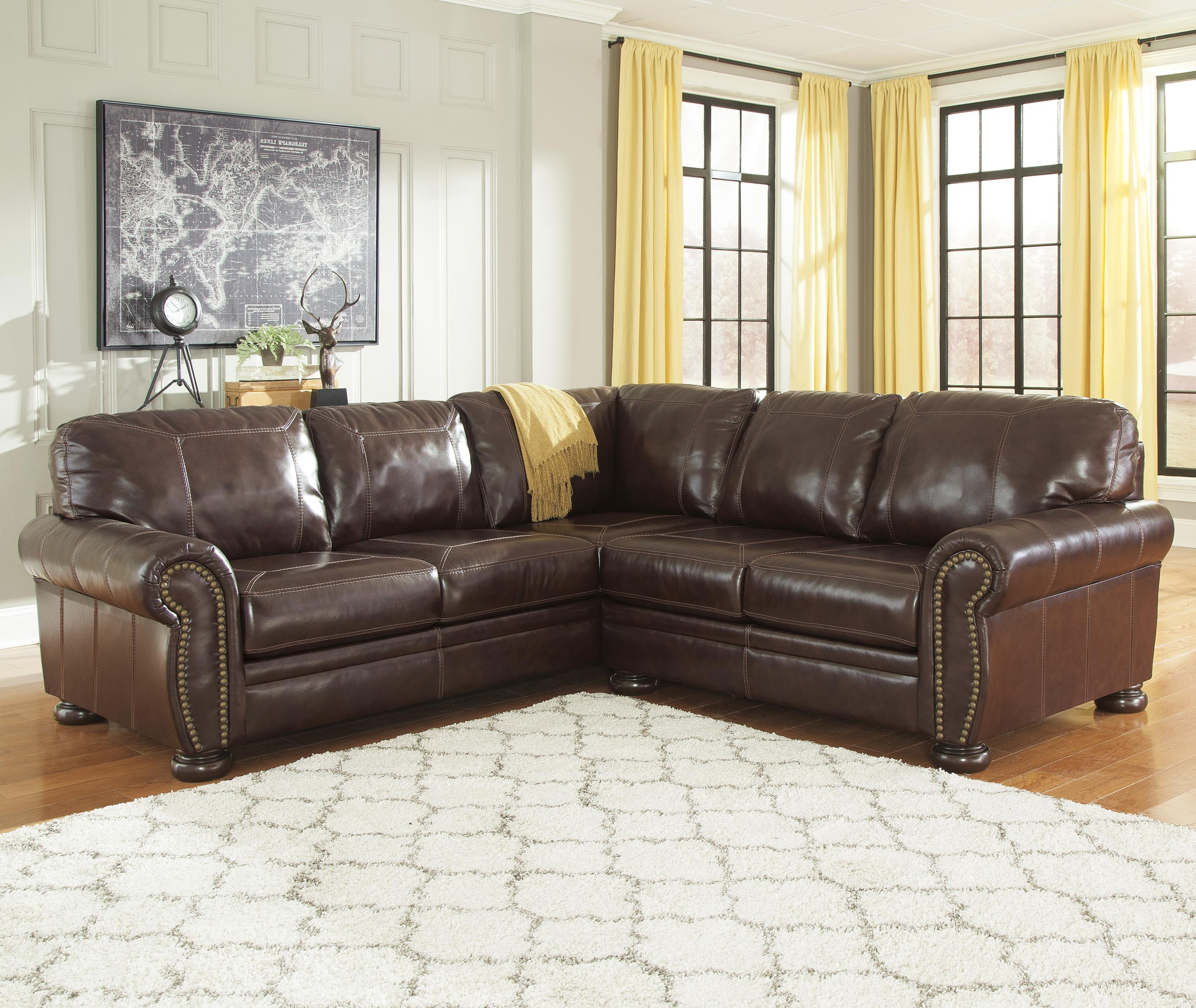 Beau 2 Piece Leather Match Sectional With Rolled Arms, Nailhead Trim, U0026 Bun Feet