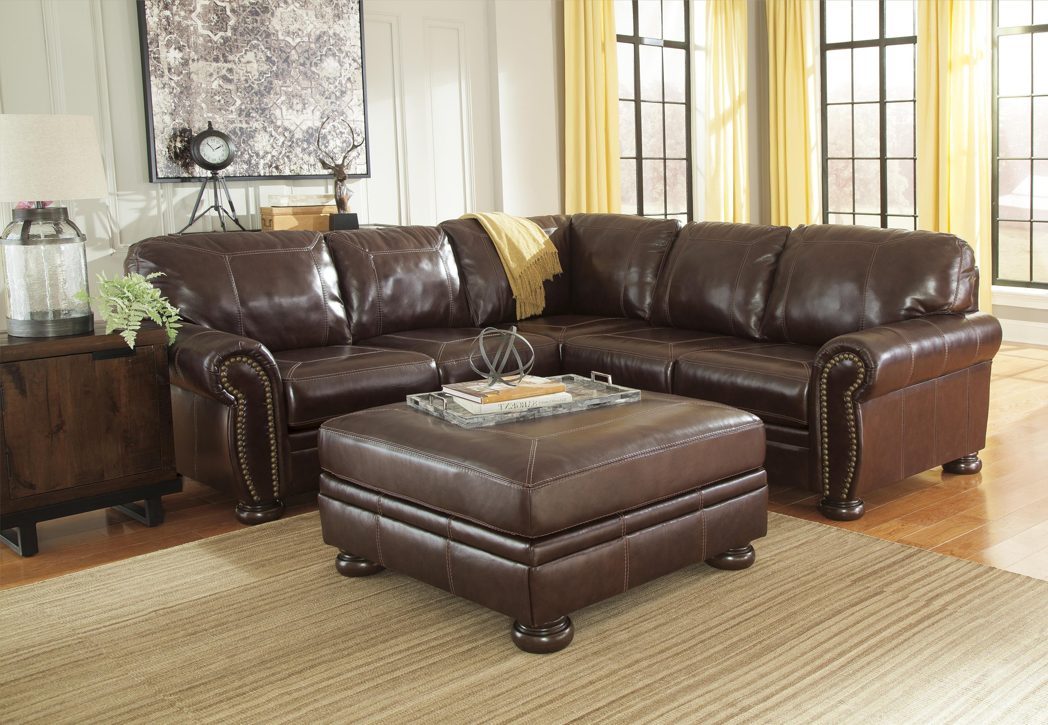 2-Piece Sectional : leather sectional with nailhead trim - Sectionals, Sofas & Couches