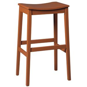 Bar Height Backless Wood Saddle Seat Tall Stool