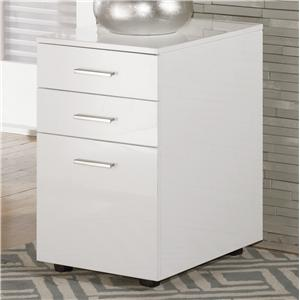 Full Gloss White File Cabinet with Casters