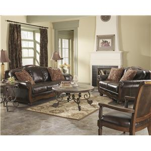 Signature Design by Ashley Furniture Barcelona - Antique Stationary Living Room Group