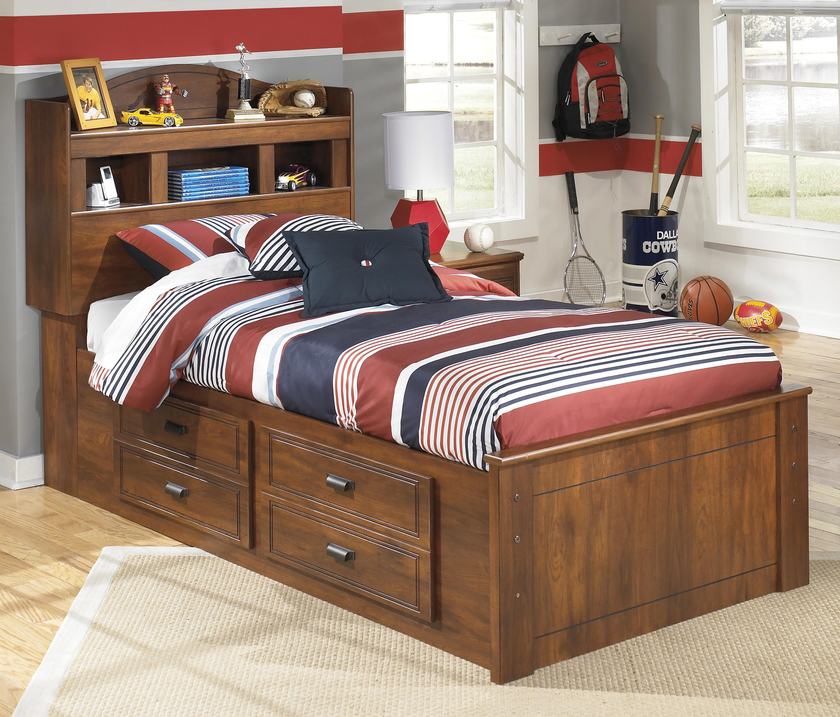 twin bed with storage underneath bookcase bed with underbed storage by signature 20005