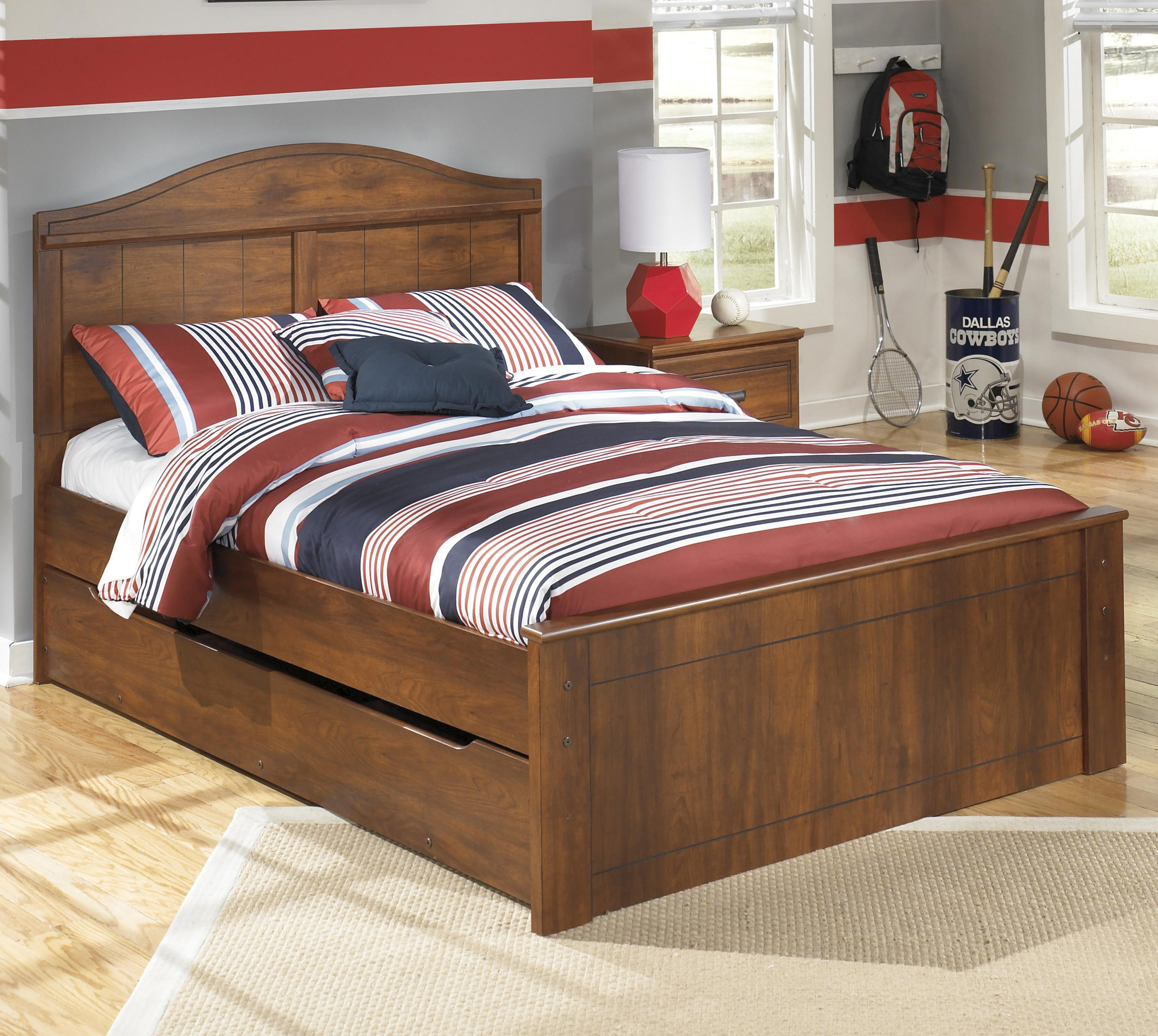 Full Panel Bed With Trundle Under Bed Storage Unit By
