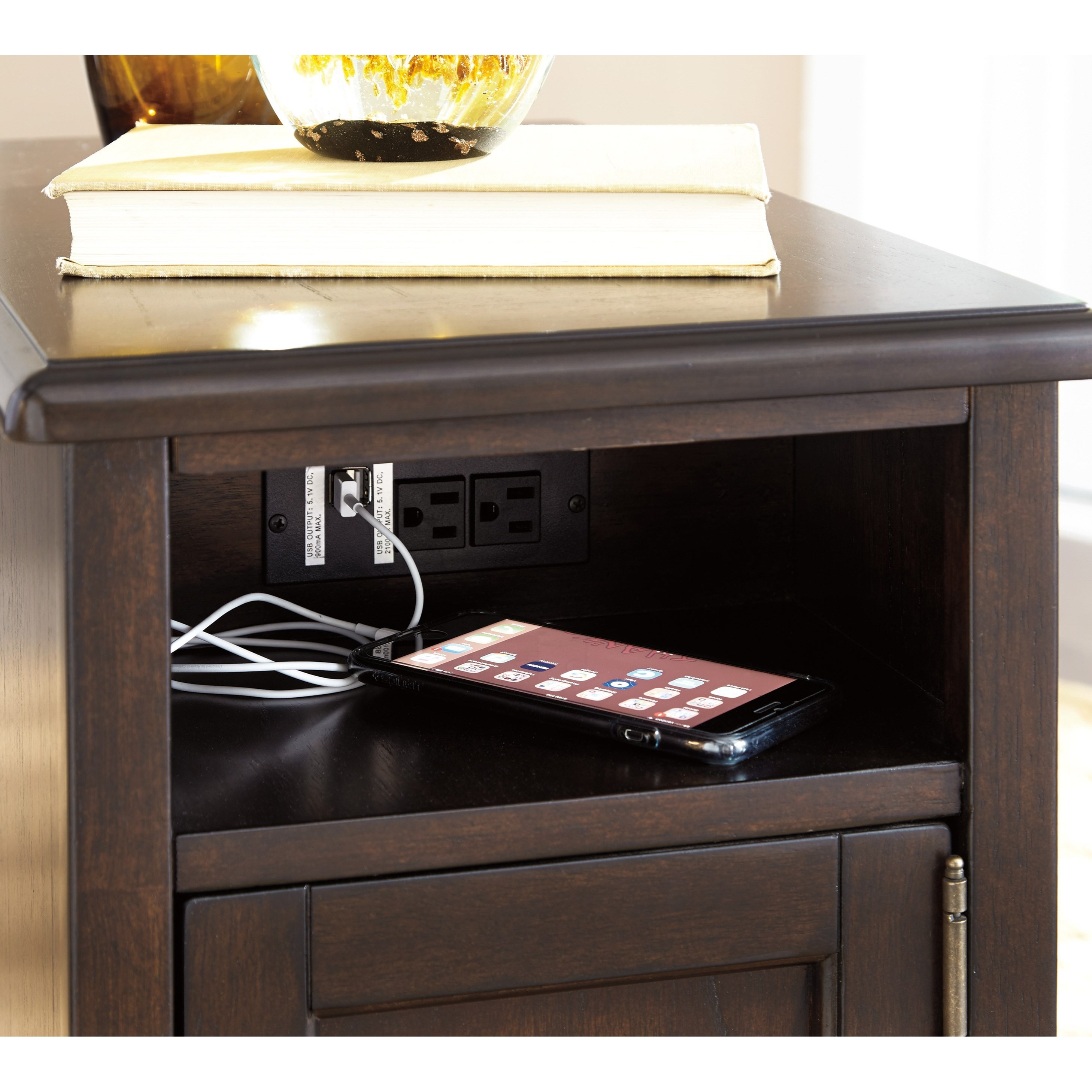Chair Side End Table With Power Outlets Usb Charging By Signature