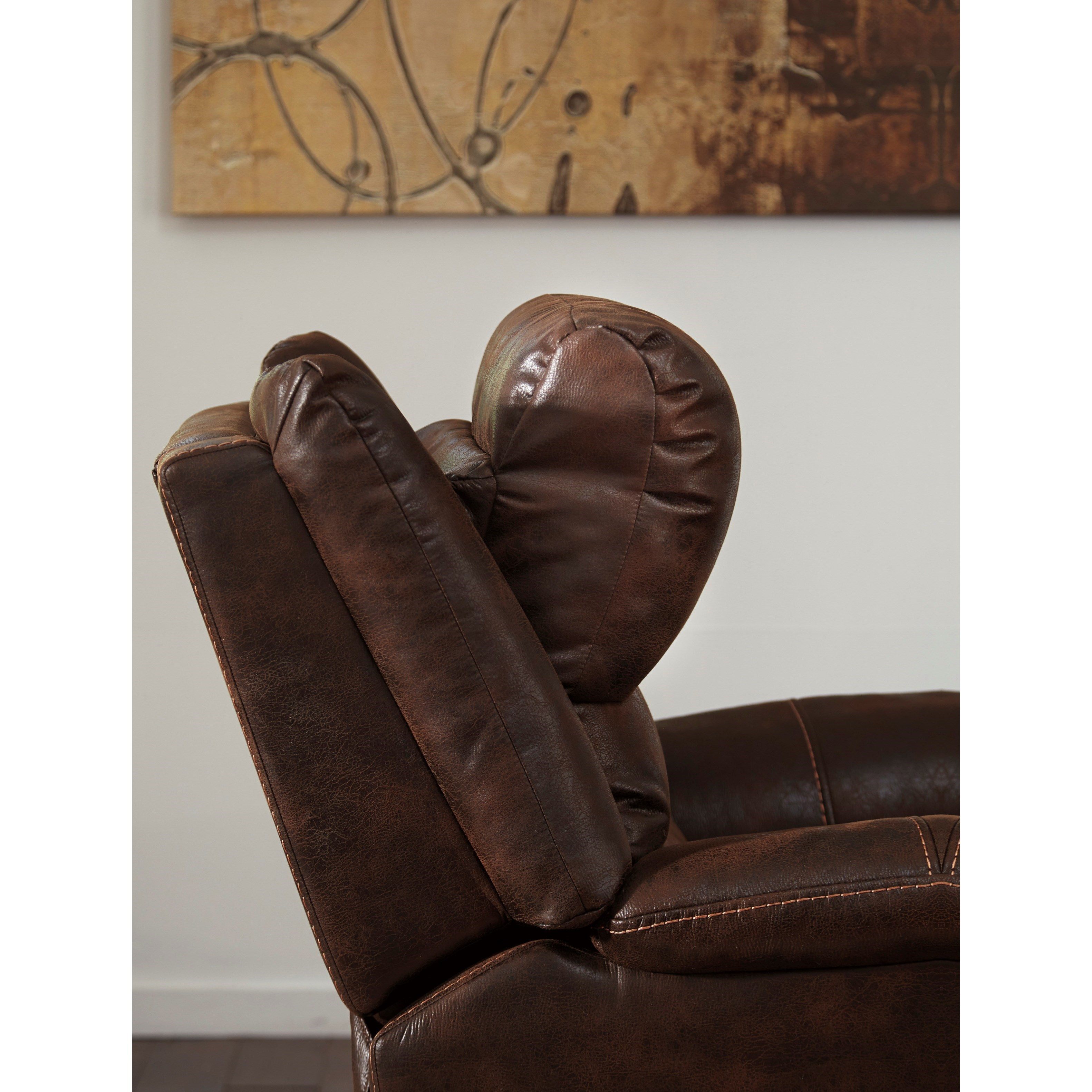 Faux Leather Power Recliner W Adjustable Headrest By