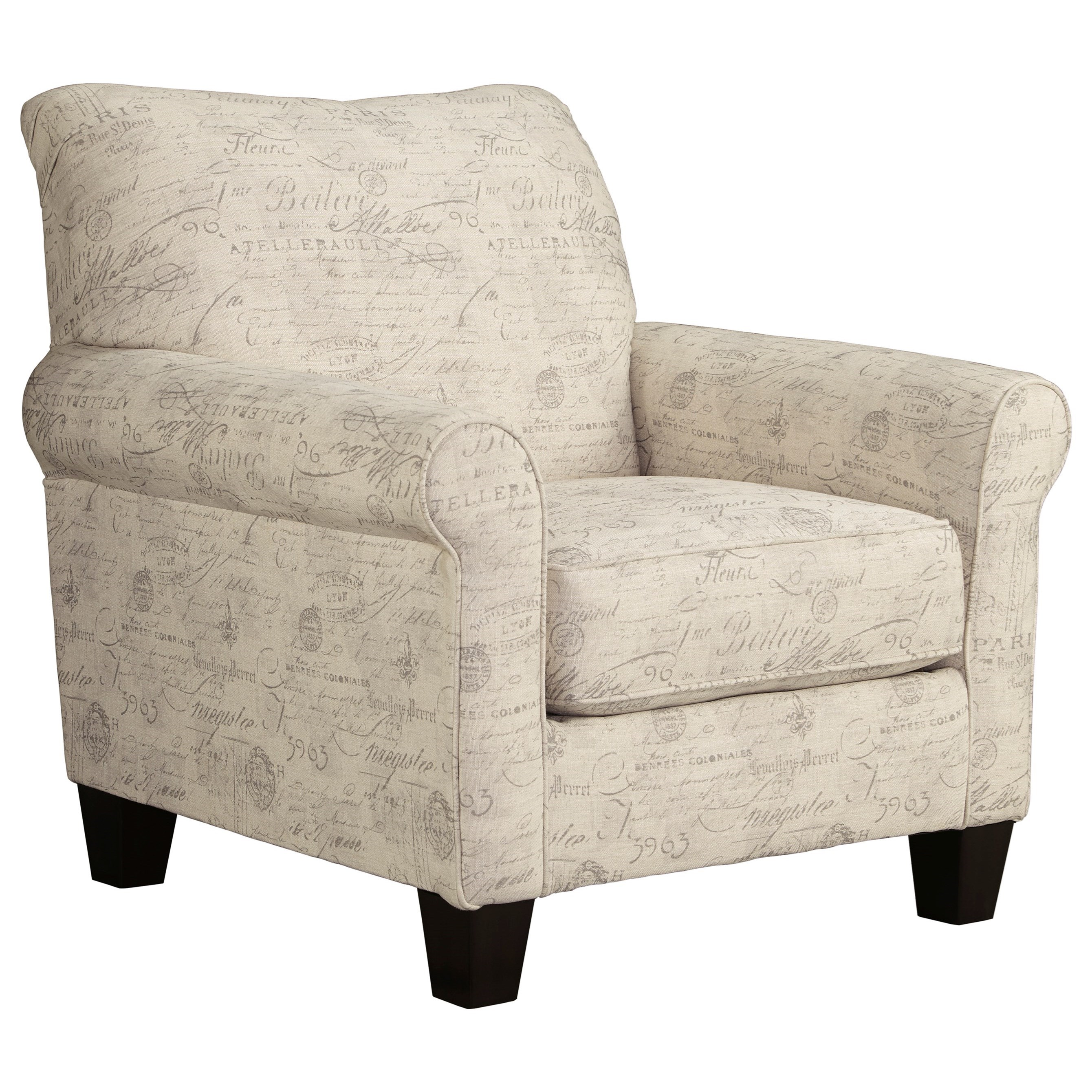 Accent Chair With French Script Fabric