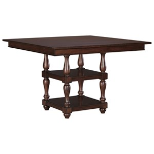 Transitional Square Dining Room Counter Table with Turned Legs