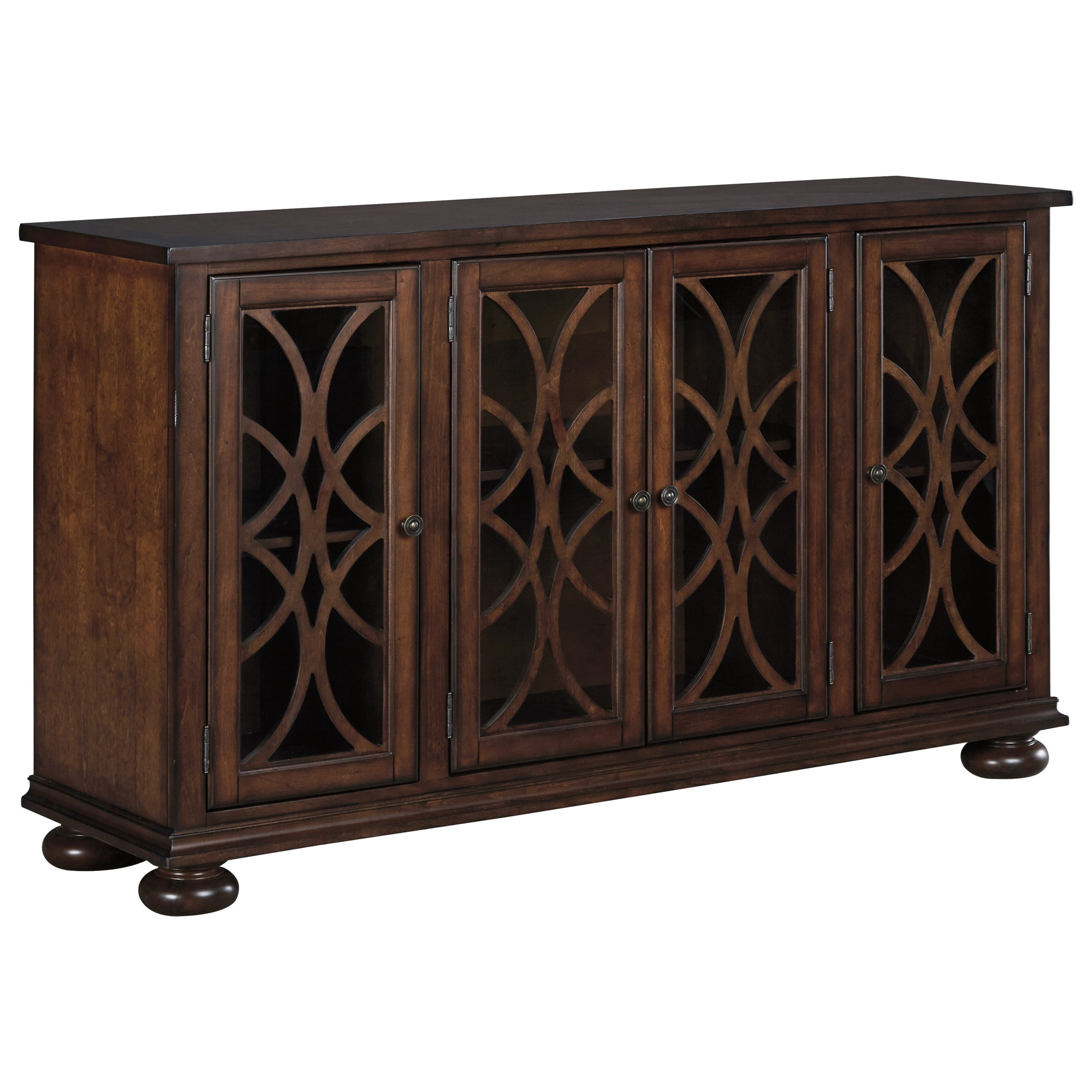 Traditional Dining Room Server With Glass/Wood Grille Doors