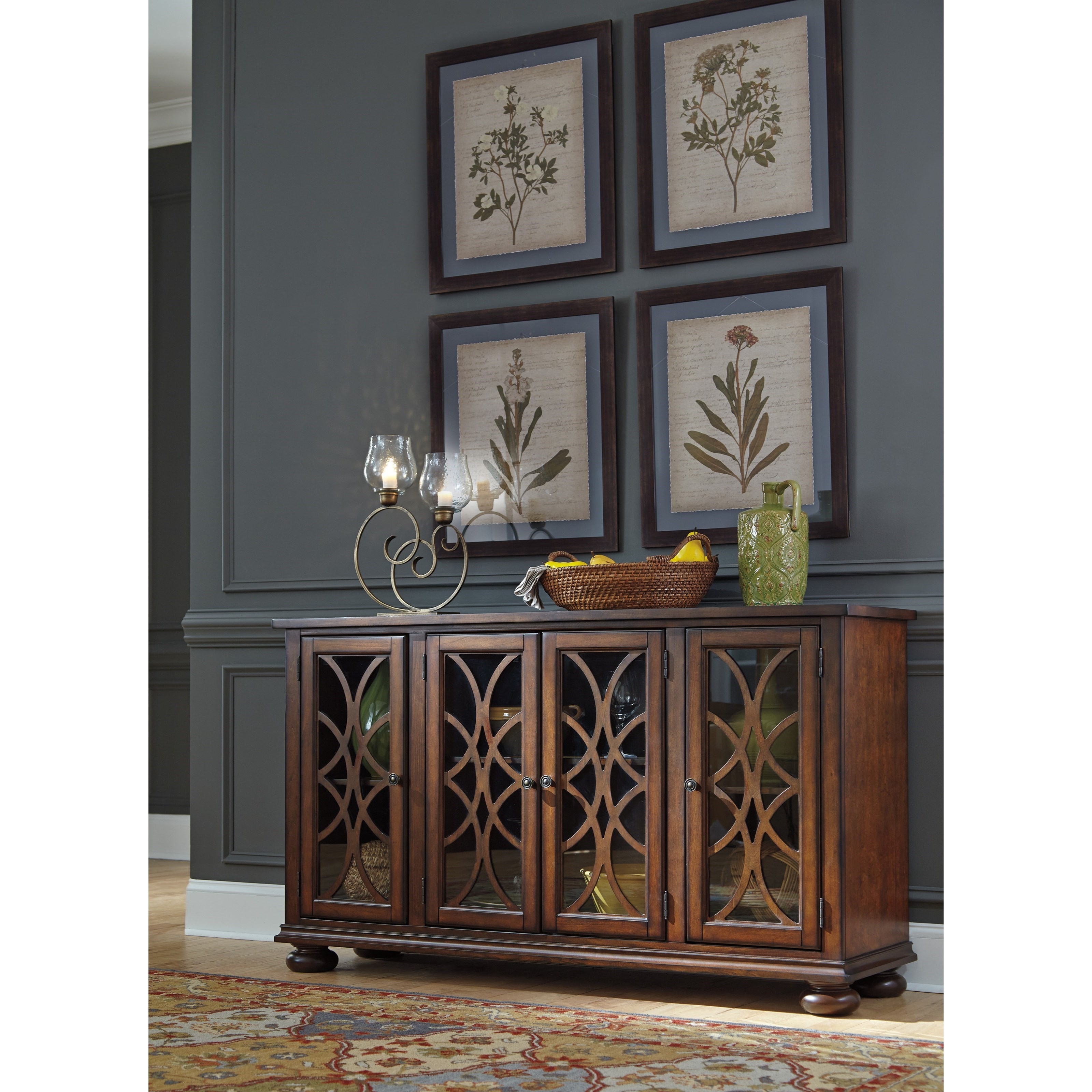 Traditional Dining Room Server With Glass Wood Grille Doors