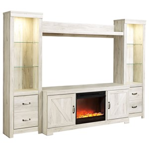 Wall Unit with Fireplace & 2 Piers in Rustic White Finish