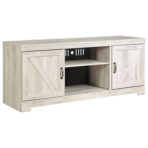 Large TV Stand in Rustic White Finish