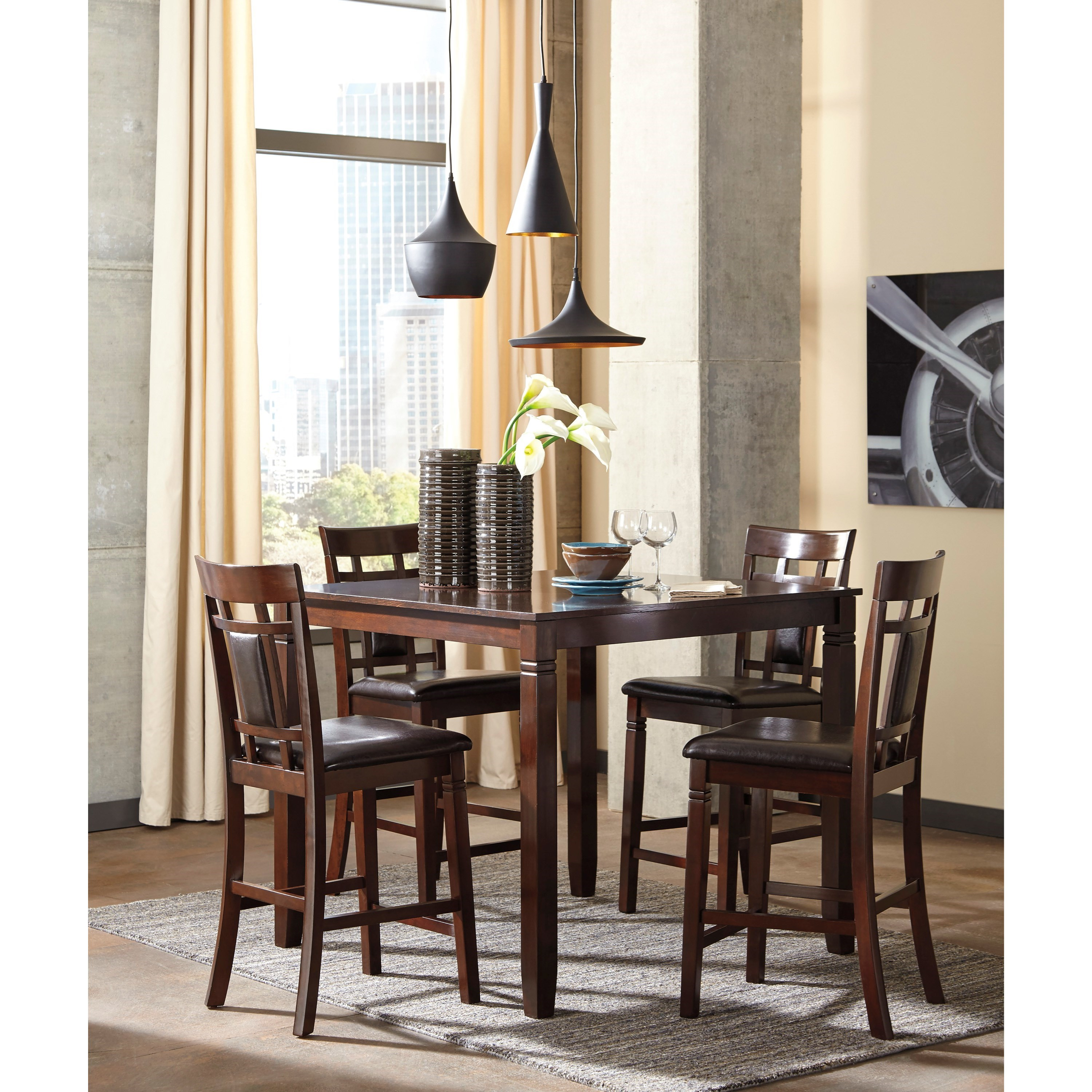 Contemporary Dining Room Sets: Contemporary 5-Piece Dining Room Counter Table Set By