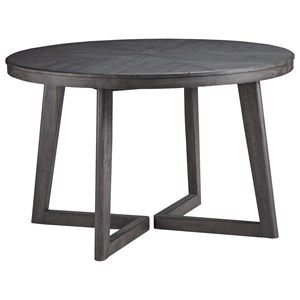 Contemporary Round Dining Table with Distressed Finish