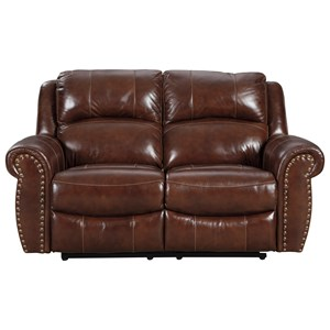 Traditional Reclining Loveseat with Nailhead Trim