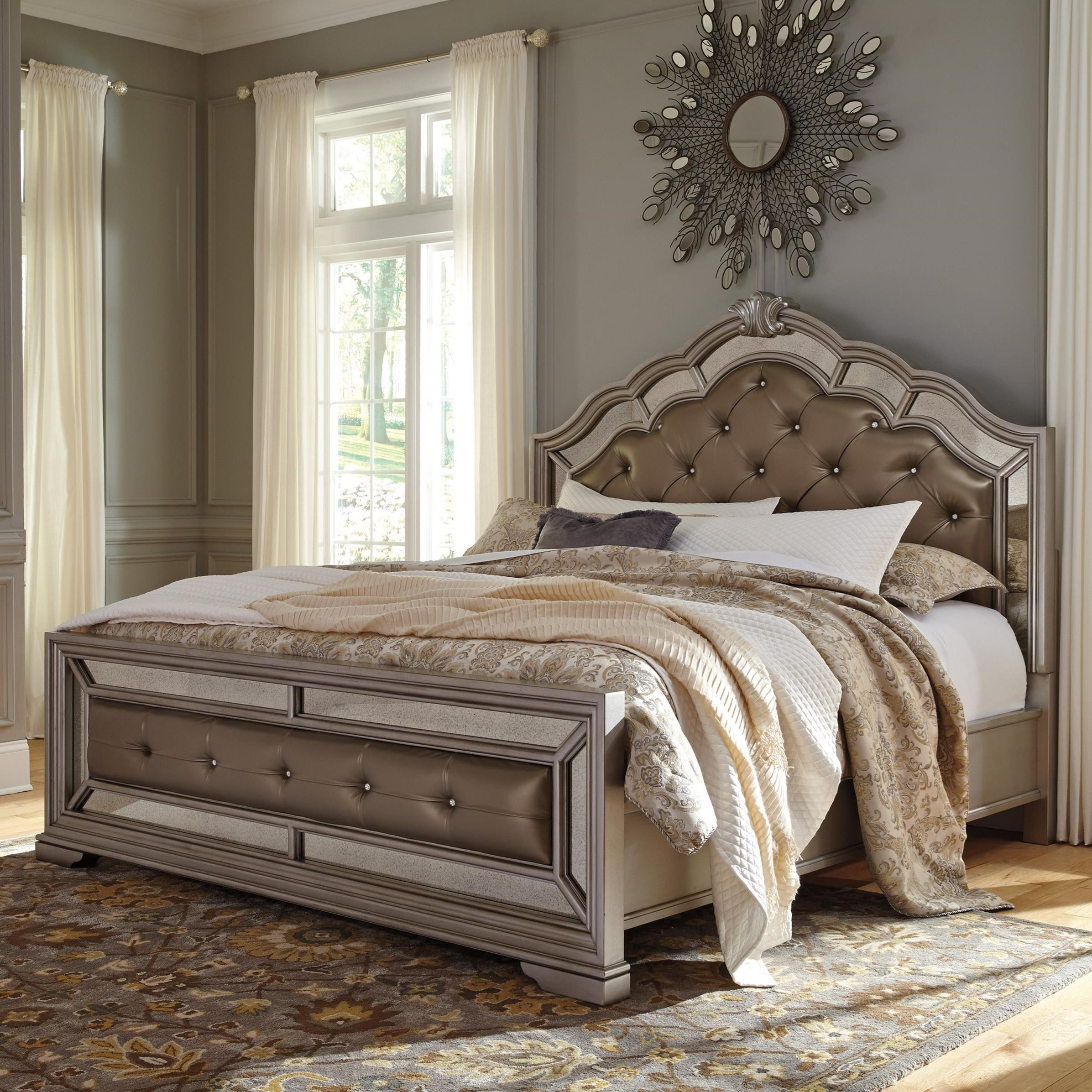 Queen Upholstered Bed in Silver Finish by Signature Design ...