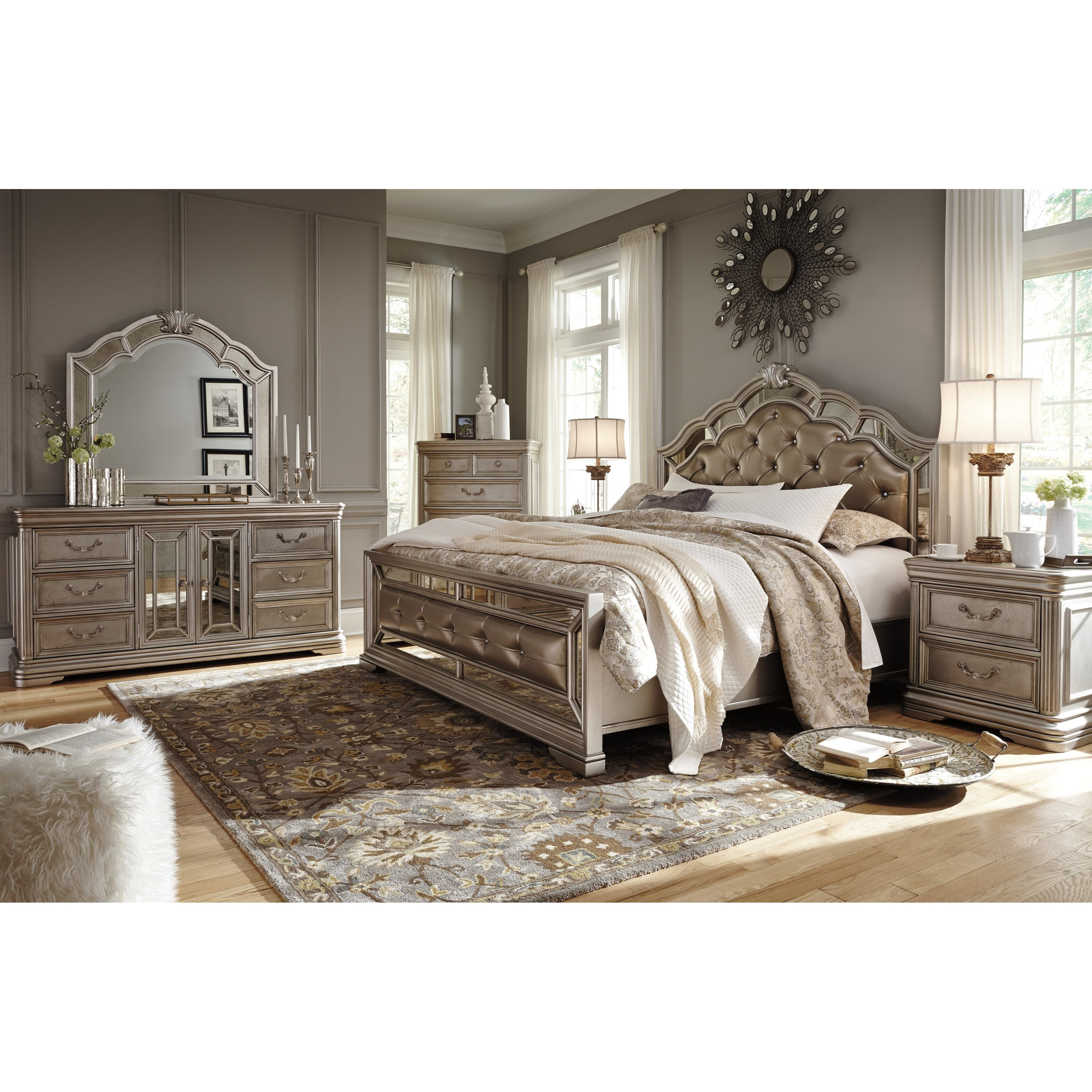 King Upholstered Bed In Silver Finish By Signature Design